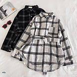 Жіноча теплі сорочки з поясом в клітку (в кольорах), фото 2