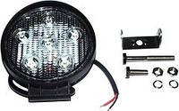 Фара LED круглая 18W, 6 ламп, 110*128мм, узкий луч 12/24V 6000K (ТМ JUBANA)