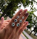 Сережки з підвісом і блакитним цирконом срібло Марисель, фото 2