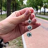 Сережки з підвісом і блакитним цирконом срібло Марисель, фото 4