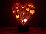 "3D светильник ночник ""Люблю тебя"" 3DTOYSLAMP, фото 2"