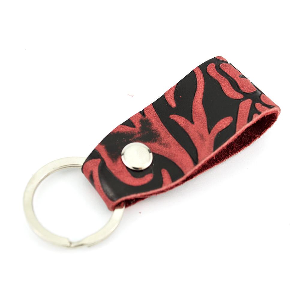Брелок для ключей кожаный бордовый цветок Handycover