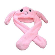 Шапка кигуруми светящаяся с двигающимися ушками (зайка), зверошапка розовая