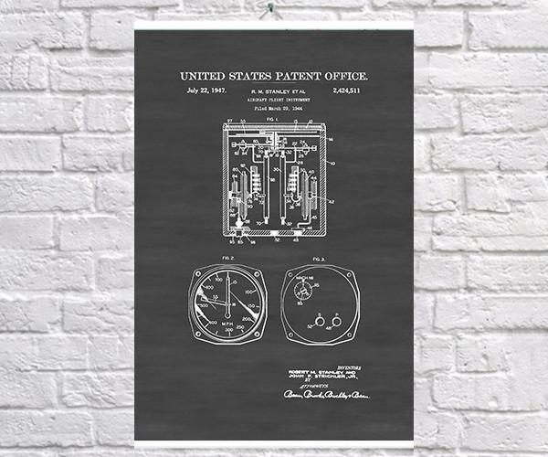 Постер BEGEMOT Патент-чертеж Приборы самолета 40x61 см Черный (1120159)