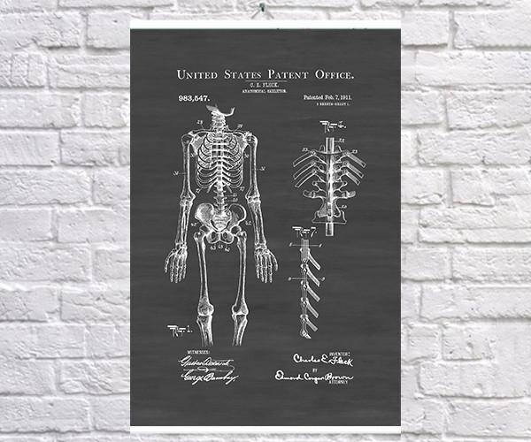 Постер BEGEMOT Патент-чертеж Анатомический макет человека 40x61 см Черный (1120166)