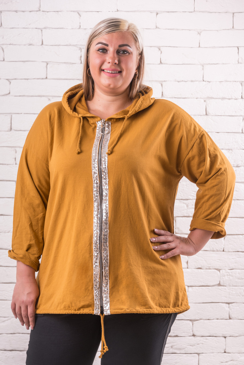 Куртки и ветровки женские   большие размеры  52-60 оверсайз  охра