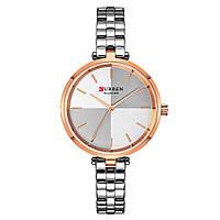 Женские Часы Наручные Стильные Curren (9043) Кварцевые Классические Серебряные
