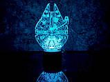 """Сменная пластина для 3D ночника """"Сокол тысячелетия"""" 3DTOYSLAMP, фото 2"""