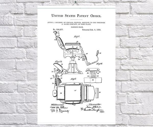 Постер BEGEMOT Патент-чертеж Кресло барбера 40x61 см Белый (1120196)