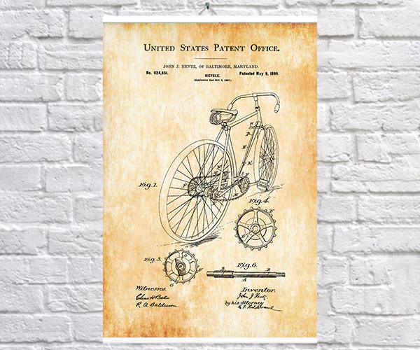 Постер BEGEMOT Патент-чертеж Винтажный велосипед 40x61 см Желтый (1120208)
