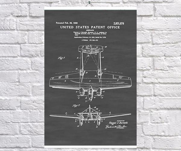 Постер BEGEMOT Патент-чертеж Самолет Бомбардировщик Burnelli A-1 40x61 см Черный (1120211)