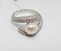 Кольцо с белым жемчугом серебро Марта