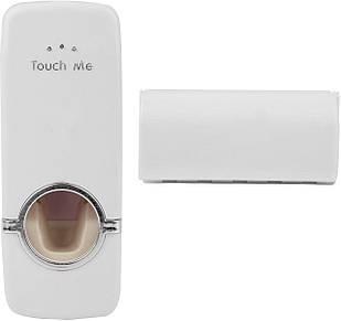 Диспенсер для зубной пасты Touch me и держатель зубных щеток с дозатором Белый (RI0273)