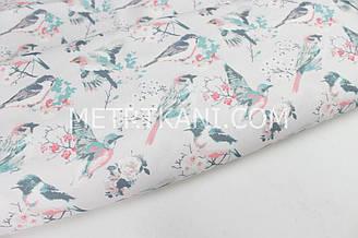 """Водоотпорная ткань """"Птички на веточке"""" жемчужно-розовый фон № к-24"""
