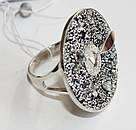 Серебряные кольцо с черными фианитами и золотом Алиса, фото 3