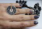 Серебряные кольцо с черными фианитами и золотом Алиса, фото 4