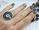 Серебряные кольцо с черными фианитами и золотом Алиса, фото 5