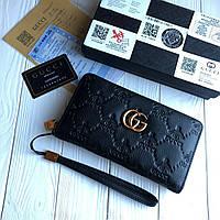 Мужской кожаный кошелек клатч Gucci черный (реплика)