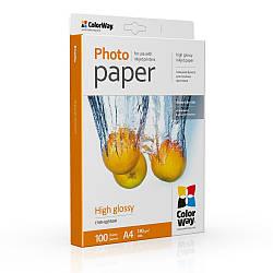 ColorWay глянцевая фотобумага 180гр, A4 100 листов (PG180100A4
