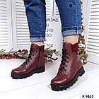Женские зимние ботинки бордового цвета, натуральная кожа, фото 2