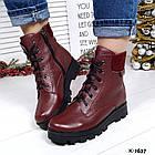 Женские зимние ботинки бордового цвета, натуральная кожа, фото 3