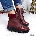 Женские зимние ботинки бордового цвета, натуральная кожа, фото 4