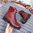 Женские зимние ботинки бордового цвета, натуральная кожа, фото 5