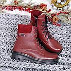 Женские зимние ботинки бордового цвета, натуральная кожа, фото 6