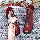 Женские зимние ботинки бордового цвета, натуральная кожа, фото 7