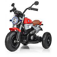 Детский трехколесный мотоцикл BMW Резиновые колеса 2 мотора Bambi M 3687AL-3 красный
