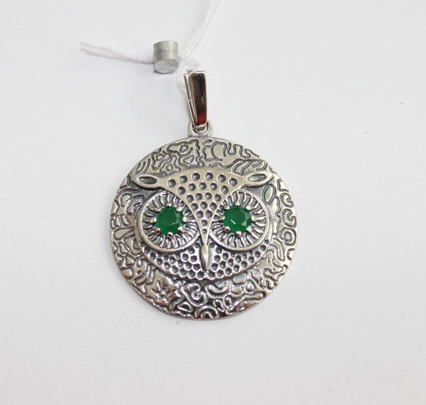 Круглый кулон с зеленым цирконом Сова