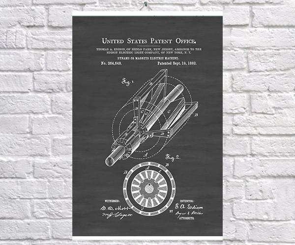 Постер BEGEMOT Патент-чертеж Динамо-генератор Эдисона 40x61 см Черный (1120286)