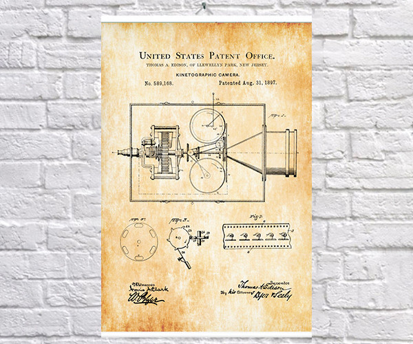 Постер BEGEMOT Патент-чертеж Кинетографическая камера Эдисона 40x61 см Желтый (1120289)