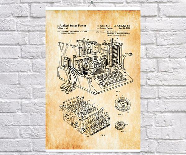 Постер BEGEMOT Патент-чертеж Шифровальная машина Энигма 40x61 см Желтый (1120300)