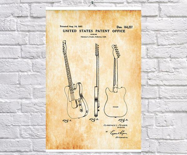 Постер BEGEMOT Патент-чертеж Музыкальный инструмент Электрогитара Fender Telecaster 1951г 40x61 см Желтый (1120307)