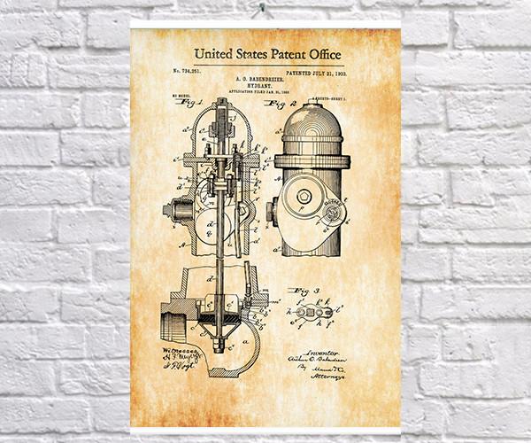 Постер BEGEMOT Патент-чертеж Пожарный гидрант 40x61 см Желтый (1120325)