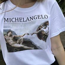 """Футболка с принтом """"Микиланджело. Сотворение Адама"""""""