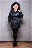 Удобная зимняя куртка с мехом, разные цвета, большие размеры, фото 1