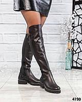 Шикарные ботфорты женские кожаные