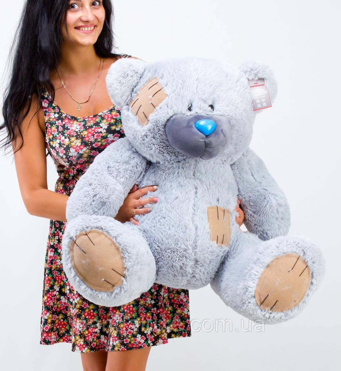 Мягкая игрушка медведь плюшевый мишка Гриша серый 100см