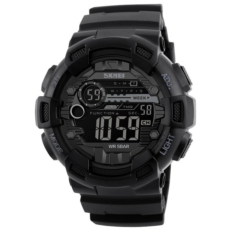 Мужские Часы Спортивные с Цифровым Циферблатом SKMEI (1243-1) 5 АТМ Черный с Серым