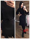 Женское платье машинной вязки с рюшами и поясом (в расцветках), фото 3