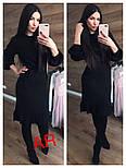 Женское платье машинной вязки с рюшами и поясом (в расцветках), фото 4