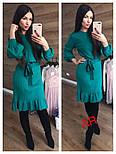 Женское платье машинной вязки с рюшами и поясом (в расцветках), фото 6