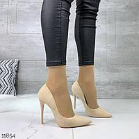 Женские замшевые туфли лодочки бежевые на каблуках  =Los_k= Венгрия