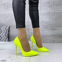 Женские лаковые туфли лодочки неоновые  на каблуках =Los_k= Венгрия