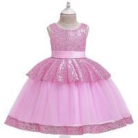 Красивое детское платье в пайетках на утренник, на день рождение, на выпуск, цвет розовый рр.100-150