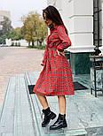 Женское красное платье в клетку с поясом, фото 2