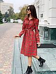 Женское красное платье в клетку с поясом, фото 4