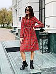 Женское красное платье в клетку с поясом, фото 5